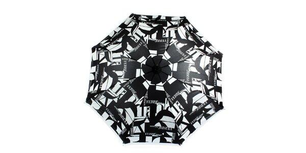 Dámský šedo-černý velký vystřelovací deštník s logem Ferré Milano