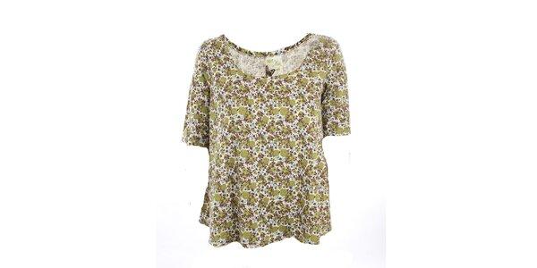 Dámské olivové květinové tričko Next
