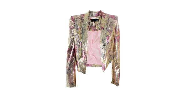 Dámské zlato-růžové sako s flitry Next