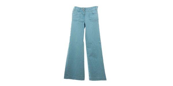 Dámské blankytně modré zvonové kalhoty Next