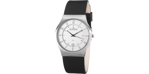Pánské ocelové hodinky Skagen s černým koženým řemínkem