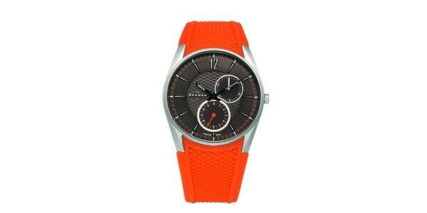 17733da6d30 Dámské oranžové hodinky Skagen se silikonovým řemínkem