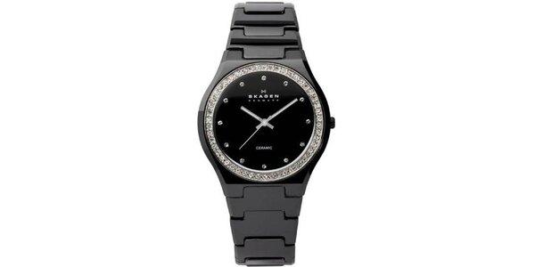 Dámské černé keramické hodinky Skagen s ciferníkem obloženým krystaly