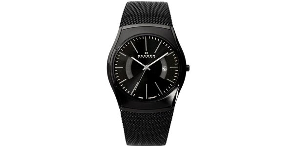 Pánské černé analogové hodinky s reliéfním řemínkem Skagen