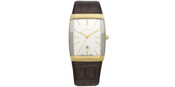 Pánské zlato-hnědé analogové hodinky Skagen