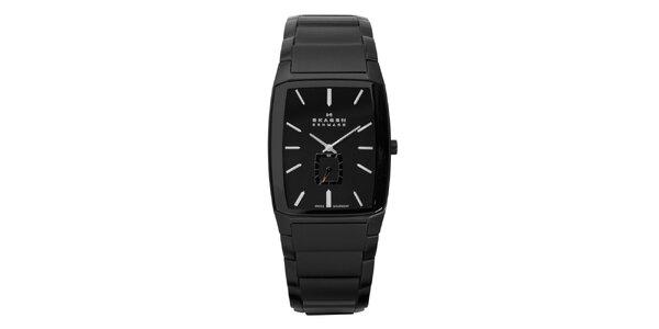 Pánské černé ocelové analogové hodinky Skagen