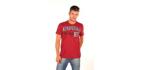 Pánské červené tričko Aéropostale s retro nápisem