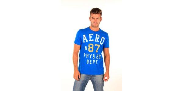 Pánské modré tričko s nápisy Aéropostale