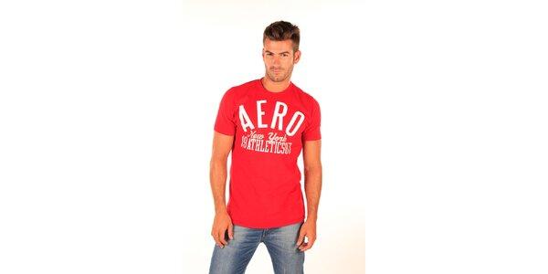 Pánské červené tričko s bílým nápisem Aéropostale