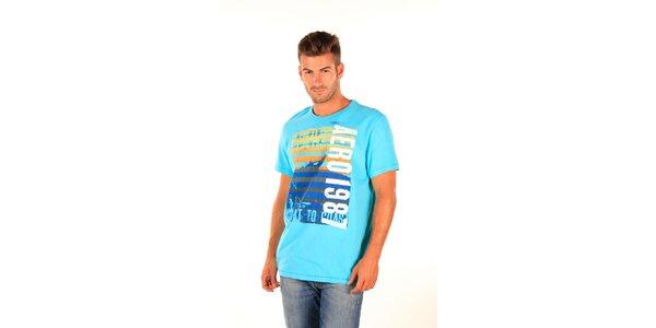 Pánské modré tričko Aéropostale s barevným potiskem
