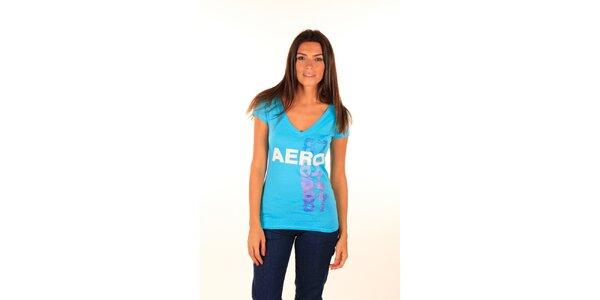 Dámské modré tričko Aéropostale s lesklým nápisem