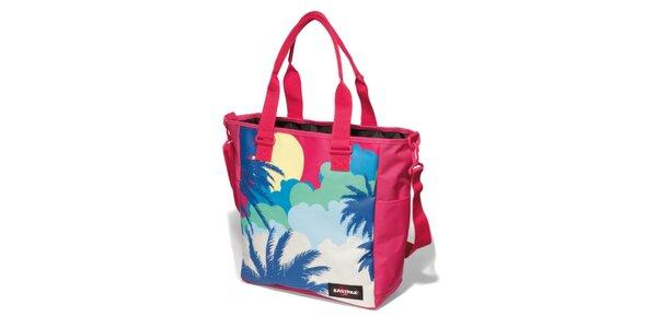 Dámská růžová taška Eastpak s potiskem palem