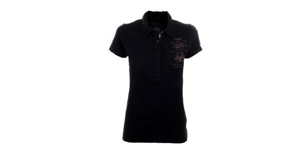 Dámské černé polo tričko Aeronautica Militare