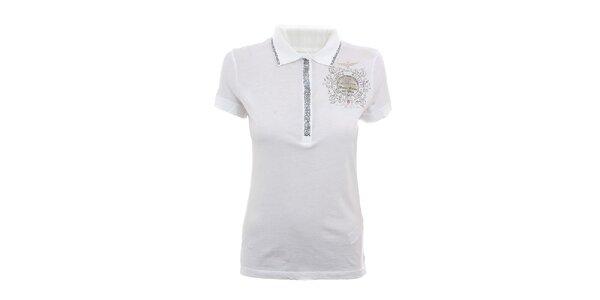 Dámské bílé polo tričko s flitry Aeronautica Militare
