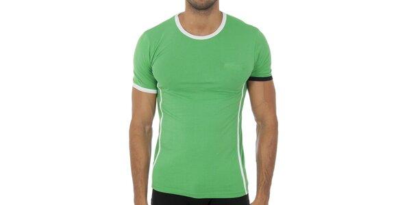 Pánské světle zelené podvlékací tričko Bikkembergs s černobílými detaily