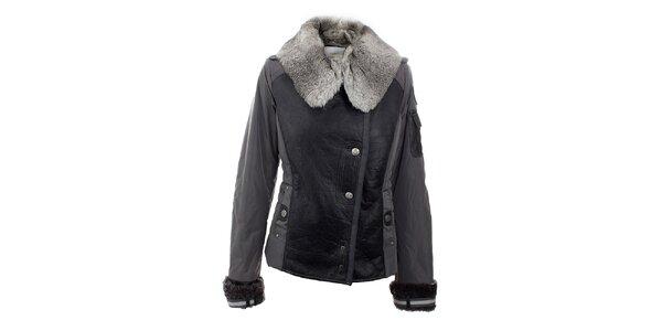 Dámská zimní šedo-černá bunda a kožešinovým límcem Aeronautica Militare