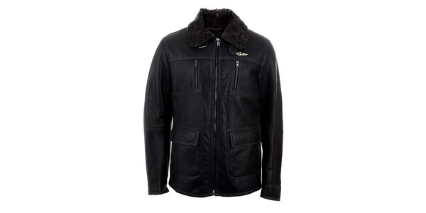 Pánská černá kožená bunda s kožíškem Aeronautica Militare