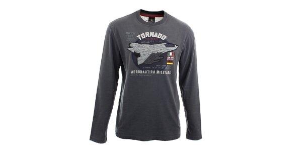 Pánské šedé tričko s dlouhými rukávy Aeronautica Militare