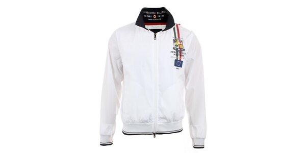 Pánská bílá lehká bunda na zip Aeronautica Militare