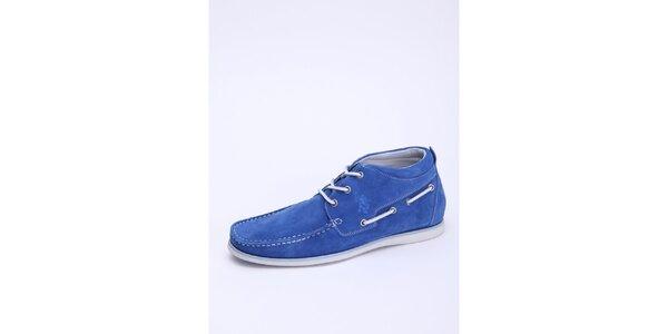 Pánské nebesky modré semišové kotníkové boty U.S. Polo