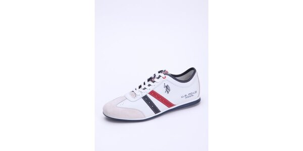 Pánské bílé kožené tenisky s červenými detaily U.S. Polo