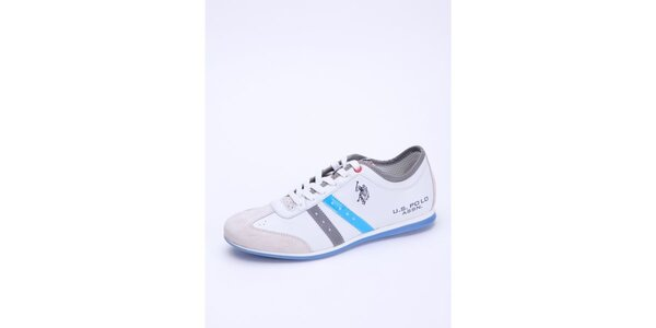 Pánské bílé kožené tenisky s modrým detailem U.S. Polo