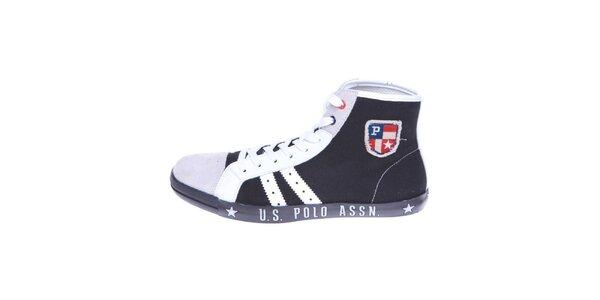 Pánské černo-bílé plátěné kotníkové tenisky U.S. Polo