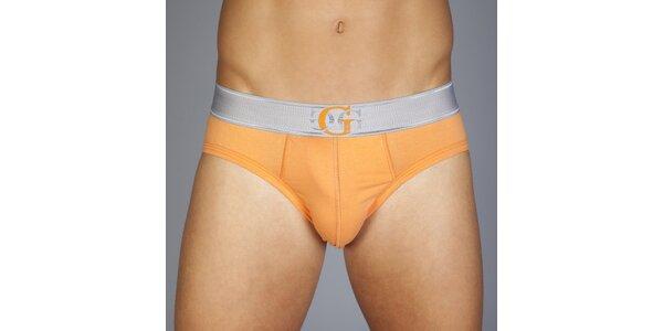Pánské oranžové slipy Guess by Marciano se stříbrným lemem