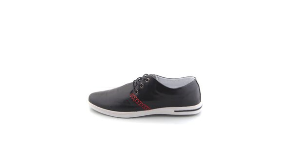 Pánské černé boty Tommy Petersen s červeným lemováním