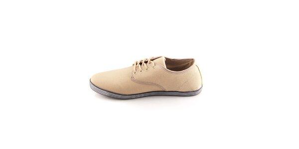 Pánské béžové boty Tommy Petersen s pruhovanými podrážkami
