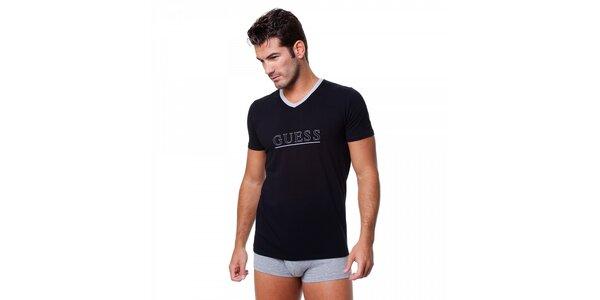 Pánské černé tričko Guess by Marciano s potiskem