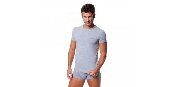 Pánské světle šedé tričko Guess by Marciano s potiskem
