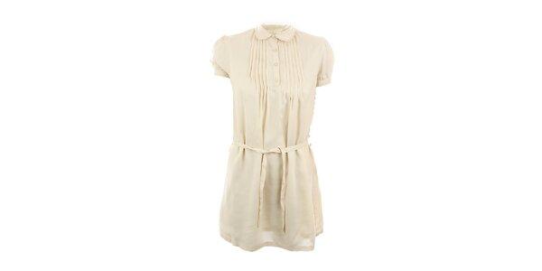 Dámské béžové šaty se sklady Tantra