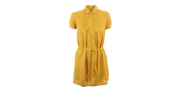 Dámské hořčicově žluté šaty se sklady Tantra