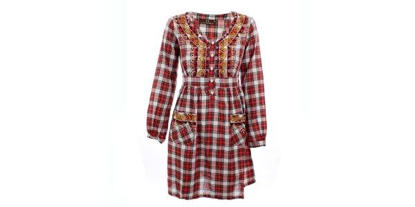 Dámské červené kostkované šaty Tantra
