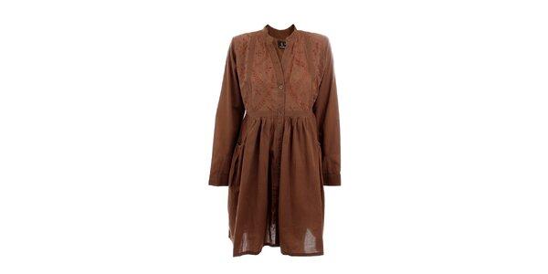 Dámské hnědé košilové šaty s výšivkou Tantra