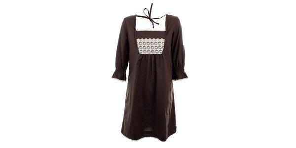 Dámské hnědé šaty Tantra s krajkou v dekoltu