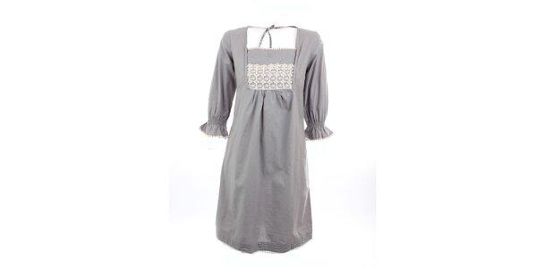 Dámské šedé šaty Tantra s krajkou v dekoltu