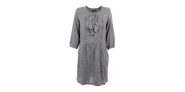 Dámské černě kostkované šaty Tantra s volánky v dekoltu