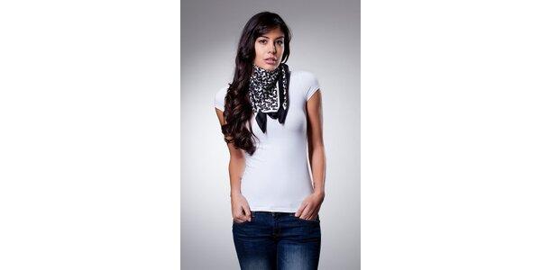 Dámský černobílý hedvábný šátek Dolce & Gabbana s potiskem
