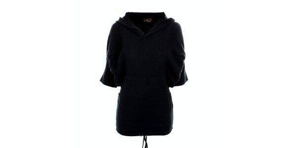 Dámský černý dlouhý svetr s kapucí Tantra
