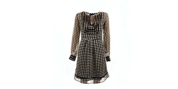 Dámské černo-bílé kostkované šaty Tantra