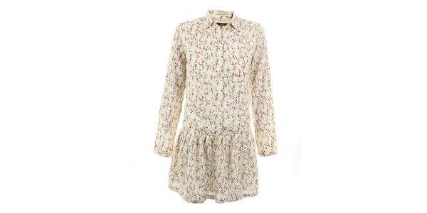 Dámské béžové šaty s romantickým květinovým potiskem Tantra