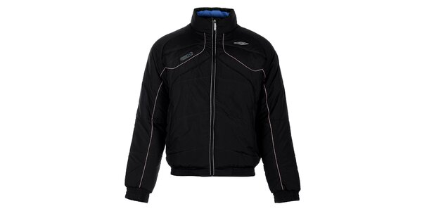 Pánská černá zimní prošívaná bunda Umbro s béžovými detaily