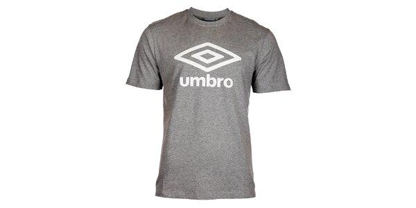 Pánské světle šedé melírované tričko Umbro s bílým logem