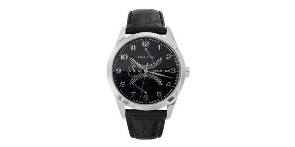 Pánské černo-stříbrné ocelové hodinky s koženým řemínkem Cerruti 1881