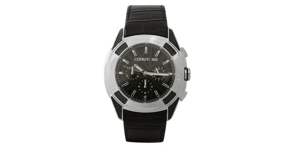 Pánské černé analogové hodinky s chronografem Cerruti 1881