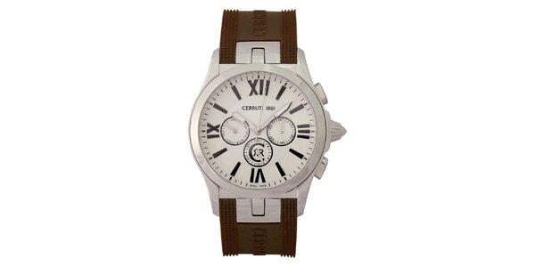 Pánské analogové hodinky s hnědým náramkem Cerruti 1881