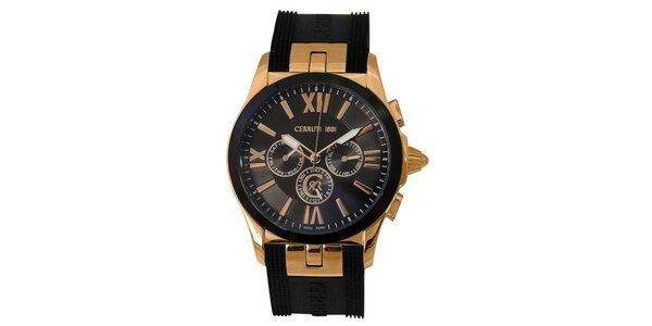 Pánské černo-zlaté hodinky s chronografem Cerruti 1881