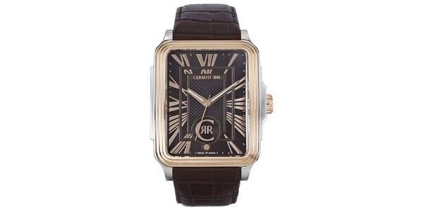 Pánské hranaté analogové hodinky Cerruti 1881 ve zlato-stříbrné barvě